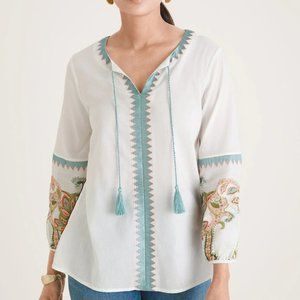 NEW CHICO'S EMBROIDERED PEASANT TOP 1